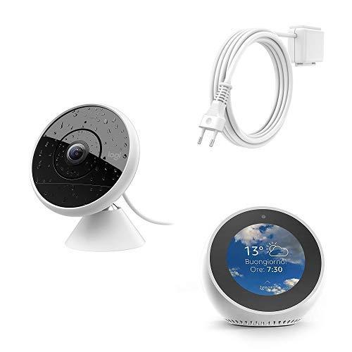 Echo Spot bianco + Logitech Circle 2 Sistema Cablato di Videocamera di Sorveglianza Domestica + Circle 2 Prolunga Resistente agli Agenti Atmosferici per Sistema di Videocamera