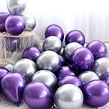 GRESAHOM Globos metálicos, 50 globos metálicos brillantes de 30,5 cm en morado y plata, globos metálicos para cumpleaños, bodas, baby shower, fiesta decoración