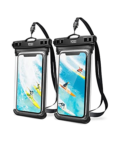 YOSH IPX8 Funda Impermeable Móvil 2 Unidades, Bolsa para Móvil Estanca a Prueba de Agua para iPhone 12 Pro MAX 11 XR X Galaxy Note 20 S21 Xiaomi Poco X3 Note 10 hasta 7.5''