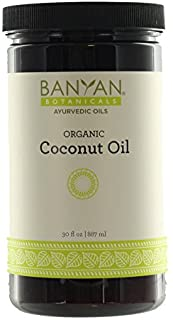 Banyan Botanicals Coconut Oil, Certified Organic, Wide-Mouthed Jar, 30 oz - Pure, Refined - A Good Massage Oil for Pitta