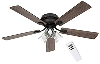 SOLTRONICS Ceiling Fan 52 inch with Light and Remote Low Profile Ceiling Fan Light 3 LED Light Kit Dimmable Flush Mounted Reversible Blade Indoor Use, Matte Black from SOLTRONICS