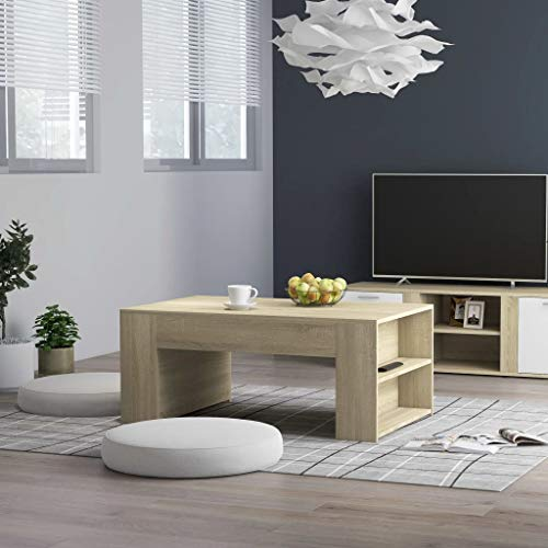 vidaXL Coffee Table with shelves Easy to Clean Living Room Office Furniture Wooden End Side Desk Lounge Table Sonoma Oak 100x60x42cm Chipboard