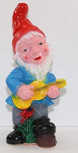 OM Gartenzwerg Garten Zwerg mit Gitarre und Bewegungsmelder Happy Birthday aus Kunststoff Höhe 33 cm