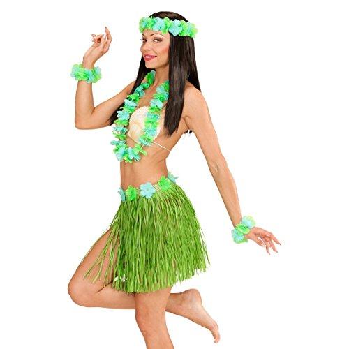 NET TOYS Ensemble Hawaï Jupe Raphia Déguisement Tropical Vert Jupon Hawaïenne Couronne Fleurs Aloha Caraïbes Costume Hawaï