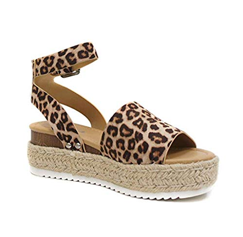 SODA Topic Topshoe Avenue Women's Open Toe Ankle Strap Espadrille Sandal (8 M US, Oat Cheeta)