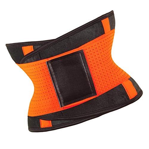 F Fityle Entrenador de Cintura Cinturón Espalda Brace Cincher Trimmer Deportes Adelgazante Body Shaper Band con Doble Vientre Ajustable para Fitness - Amarillo 2XL