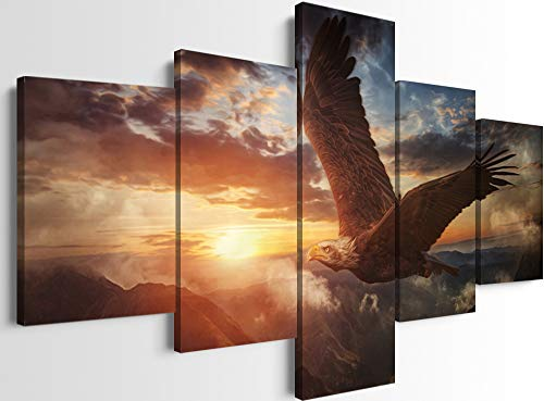 YOUHONG 5 Panels Modern Eagle Wall Picture Decor Cool Eagle Flying Free in The Sky Wall Paintig Animal Wall Decoration Framed Ready to Hang for Living Room Decor (60''W x 32''H)