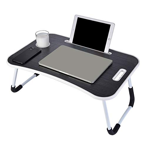 Laptop Desk, Portable Laptop Bed Tray Table, Notebook Stand Reading Holder,Couch Table,Bed Desk with Handle for Reading Book, Eating, Working, Writing, Gaming, Drawing (Black)