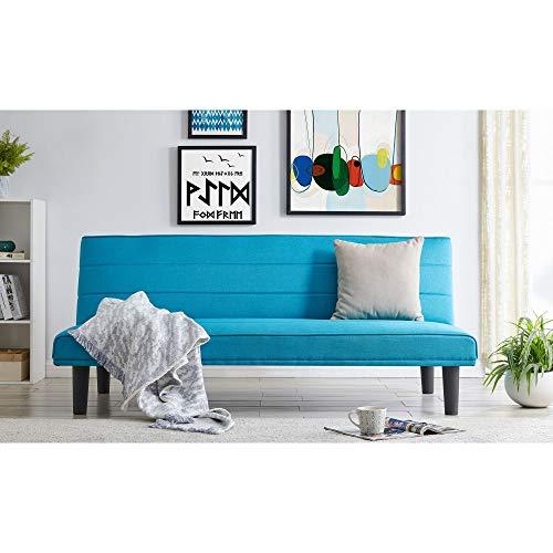 Mobilier Déco Julio Lit canapé, Tissu, Bleu, Deux Places