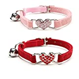 YCZ - Collare per gatti con campanella e ciondolo a forma di cuore con strass e ciondolo a forma di cuore (rosa e rosso)