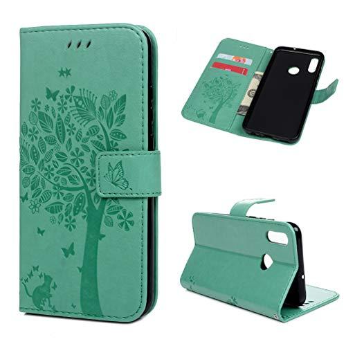 Archi Hülle Kompatibel mit Huawei P Smart 2019 / Honor 10 Lite Leder Handyhülle Flip Hülle Tasche Wallet PU Schutzhülle Bookstyle Ständer Kartensätze Magnetisch Handytasche Baum Minzgrün