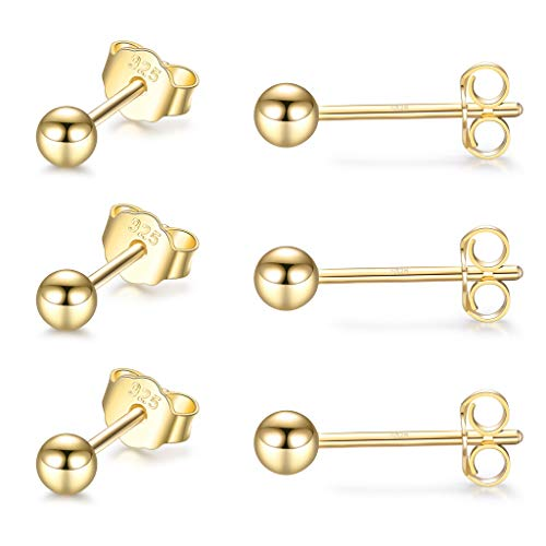 CERSLIMO Silver Stud Earrings for Women Men Girls, 3 Pairs Sterling Silver Tiny Ball Stud Earrings Small Dot Studs Dainty Cartilage Tragus Sleeper Earrings Set (2mm/3mm/4mm, Silver/Gold/Rose Gold)