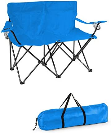 Best Trademark Innovations Loveseat Style Double Camp Chair with Steel Frame, Blue