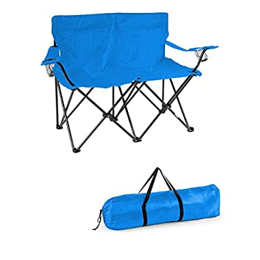 Trademark Innovations Loveseat Style Double Camp Chair with Steel Frame, Blue