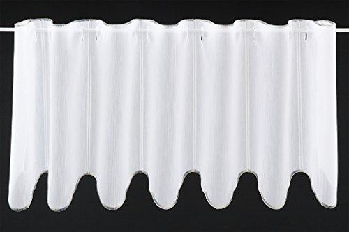 Tenda della Finestra Semplice Ricamo Altezza 35 cm | può Scegliere la Larghezza in segmenti da 16 cm, Come Vuole | Colore: Bianco; Marrone | Tendine Cucina