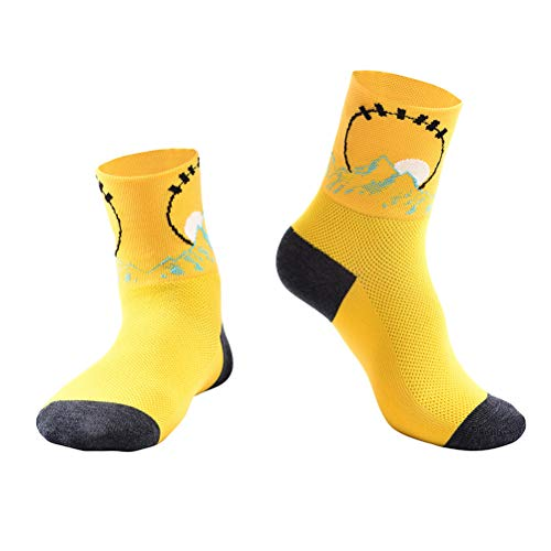 ABOOFAN Short Socks Breathable Socks Sweat Absorption Comfortable Spring Summer Socks for Fitness Running Sports Cycling (Yellow, L/XL- Size 42-47 for Adult)