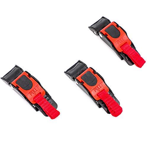 F Season 3 x Motorradhelm mit Clip Schnellverschluss Kinnriemen, mit Schnalle,schwarz + rot