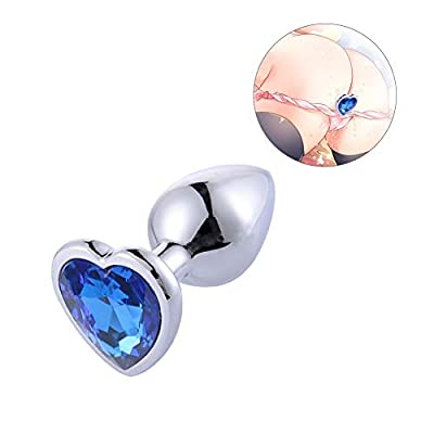 Rustless Metal Anal Butt Plugs Blue Jewelry Heart Shaped Anal Trainer Toys Unisex Valentine 's/Birthday Gift for Lover Romi (Small Plug)