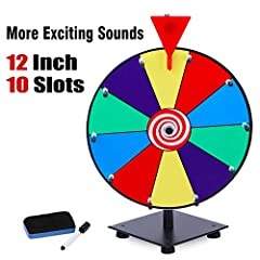 "10 Color Prize Slots: 12"" dry erase spinner wheel is easy to write prize options on or erase, 10 color prize slots, more color division, reuse multiple times More Exciting Sounds: 2 clickers types, wood clicker, and red rubber clicker both produce lo..."