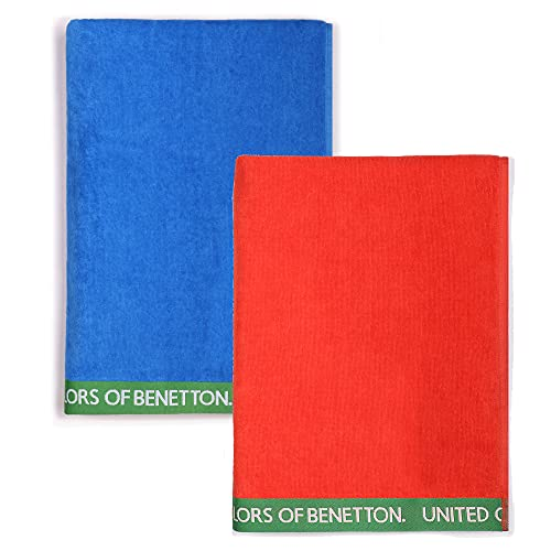 UNITED COLORS OF BENETTON, SET 2 TOALLAS DE PLAYA 90X160CM 380GSM VELOUR 100PercentALGODON CASA BENETTON, Azul + Rojo, 90x160 c/u