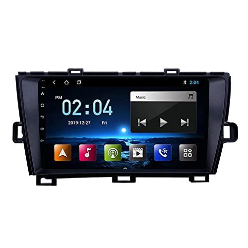 Radio Estéreo De Coche Bluetooth Apoyo De Reproductor MP5 Llamadas Manos Libres Radio FM Enlace Espejo/Wifi/1080P Video/SWC, para Toyota Prius 2009-2013,Octa Core,4G WiFi 4+64