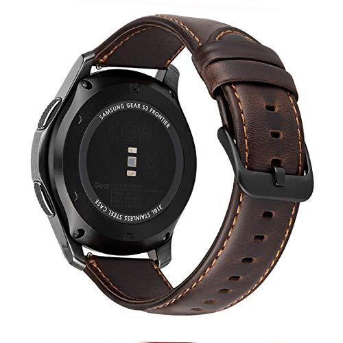 MroTech Correa Gear S3 Compatible para Samsung Galaxy Watch 46mm/S3 Frontier/Classic Pulseras de Repuesto para Huawei Watch GT 2 /GT Sport/Active/Elegant Correa 22mm Piel Banda de Cuero -café