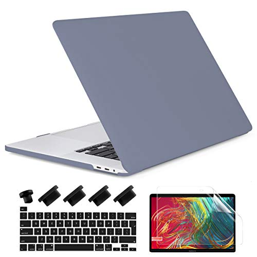 Dongke Macbook Pro 16 inch Case 2020 2019 Release A2141, Plastic Hard Shell Case & Keyboard Cover for Macbook Pro 16-inch Retina Display with Touch Bar and Touch ID, Lavender Gray