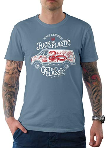 King Kerosin Herren T-Shirt Tee Classic Van Hellblau 2XL