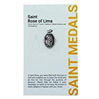 1 inch Saint and Holy Subject Medal with Prayer Card | Over 25 Different Saints | Durable and Detailed Charm | Pendant Medal Carded with Prayer | Christian Jewelry (St. Rose of Lima) [並行輸入品]