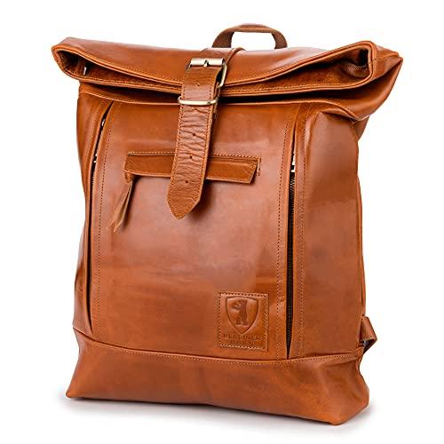 Berliner Bags Rucksack Bern Kurierrucksack mit Laptopfach aus Leder Fahrradrucksack Trekkingrucksack Damen Herren