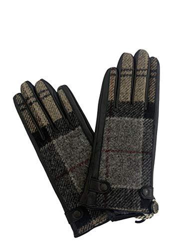 Barbour Damen-Handschuh aus Tartan-Stoff und Leder, Größe S