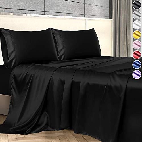 Decolure Satin Sheets, Silky Satin Sheet Set, Satin Bed Sheets Queen Set, (Queen Size) Black