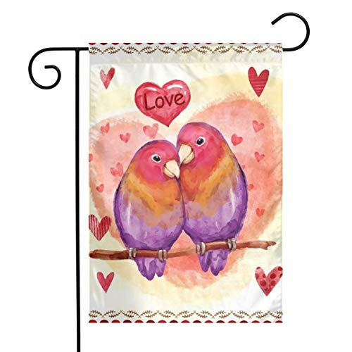 JISMUCIWelcome Garden Flag Be Mine Love Birds Valentine's Day Double Sided Decorative House Yard Flags Seasonal Vertical Outdoor Banner and Decoration