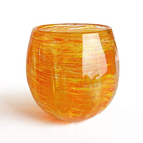 冷茶グラス コップ カップ 琉球ガラス グラス 蛍石入り ホタル海月グラス (オレンジ)