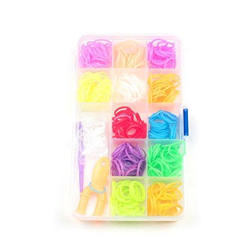 WL Fashion Loom Band Set in praktischer Box mit ca. 400 Gummis in bunten Farben für Armbänder zum Selbstknüpfen mit 17 Verschluss-Haken und Werkzeug