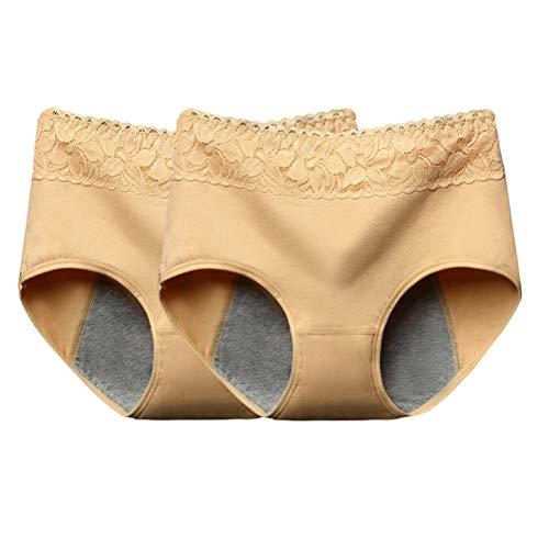 BESTOYARD 2 stück Menstruation Unterwäsche Damen auslaufsicher Slip Unterhose Größe XL (Zufällige Farbe)