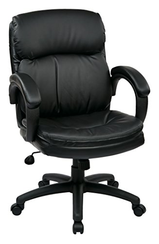 Office Star Mid Back Thick Padded Contour Seat and Back with Padded Armrests Black Eco Leather, Managers Chair Eco Leather Managers Chair
