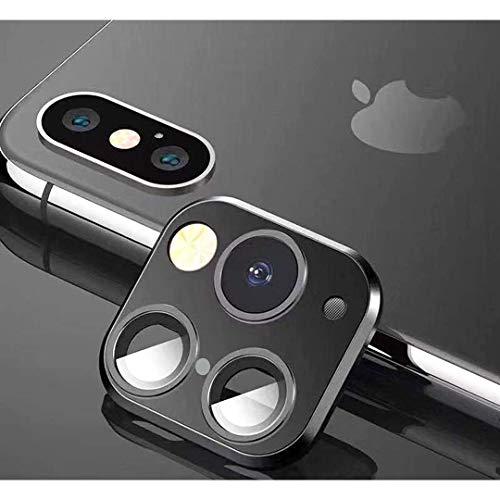 FTYSXP Geändertes Kameraobjektiv Sekunden Wechselcover für iPhone X XS XS/MAX Aufkleber Gefälschte Kamera für iPhone 11 Pro Max Metallschutzfolie Wechsel zu iPhone pro/Max (Schwarz)