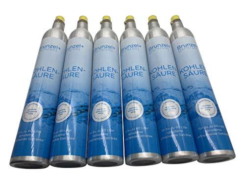 KK 6 stuks CO2 cilinder geschikt voor Soda Stream Sodastream Cool, Aqvia tot 60 liter spuitwater per vulling nieuw en gevuld met 450 g CO2