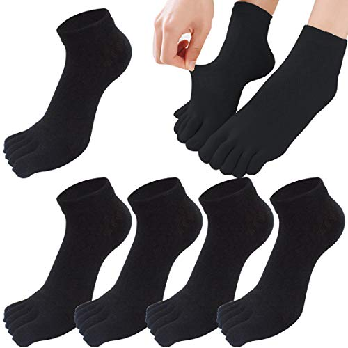 MOAMUN 5 Paare Womens Five Finger Toe Socken für Frauen Mädchen, Damen Casual Socken Baumwolle Low Cut Söckchen Soft und Breathable Größe 39-44 (Schwarz)