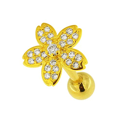 Micro-instelling CZ steen bloem ontwerp chirurgisch staal helix tragus piercing sieraad