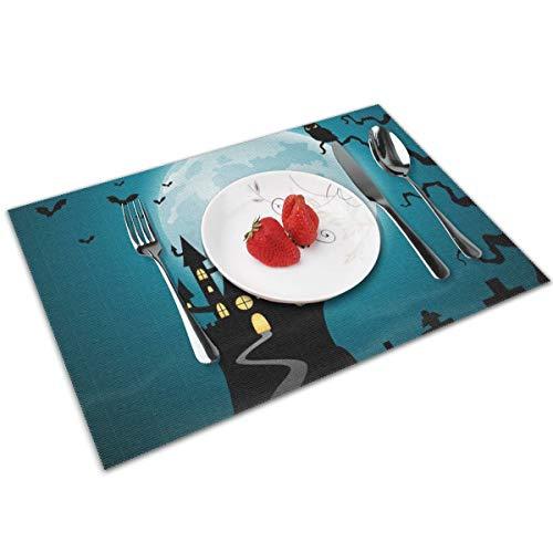 Dingl Halloween nacht met kasteel en pompoenen Placemat wasbaar anti-slip voor keuken diner tafelmat, gemakkelijk te reinigen Placemat 12x18 inch Set van 4