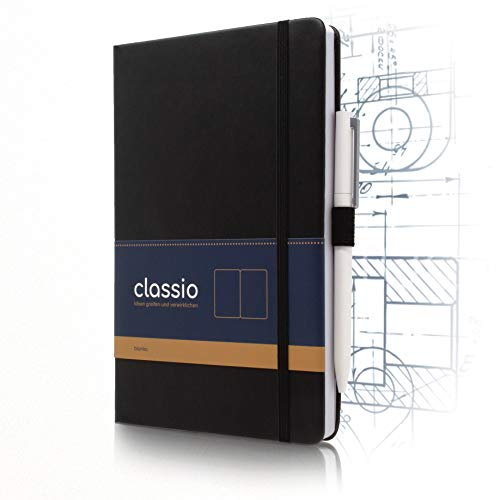 CLASSIO Hardcover Notizbuch A5 blanko mit Pen-Loop & Falttasche | 200 Seiten weißes 100 g/m2 FSC-Papier | 180°C aufklappbar | schwarzes Kunstleder Skizzenbuch & Zeichenheft A5