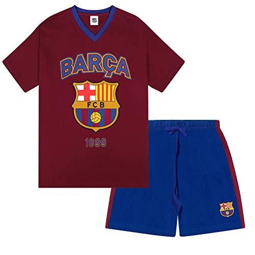 FC Barcelona - Herren Schlafanzug-Shorty - Offizielles Merchandise - Geschenk für Fußballfans - S