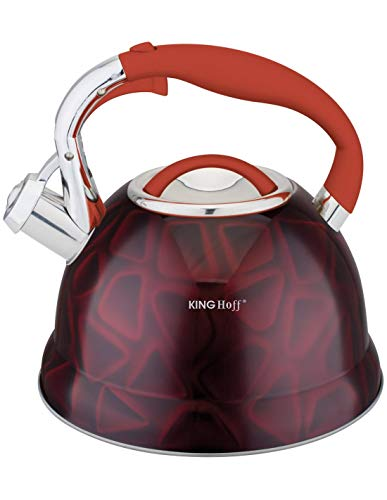 Kinghoff KH-1063 Höffner HF- 3885 3D Effect Edelstahl Wasserkessel ca. 2,7 L Induktion Pfeifkessel Flötenkessel