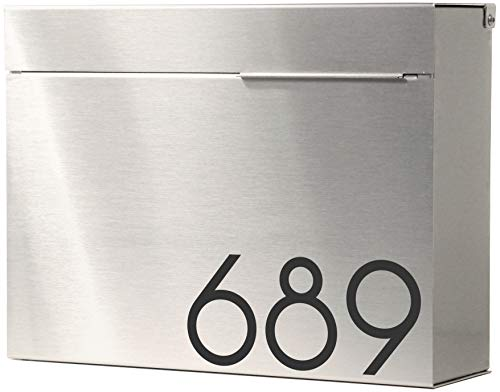 Modern Mailbox Personalized , Engraved Stainless Steel, Wall-Mount Mailbox Vsons Design Mitch S (Brushed Stainless Steel with Numbers)