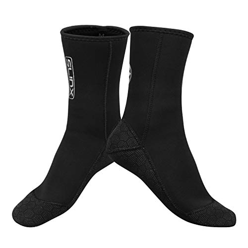QKURT Neoprensocken, 3mm Tauchsocken für Damen Herren, rutschfest Socken zum Tauchen, Schnorcheln, Schwimmen, Surfen, Segeln, Kajakfahren