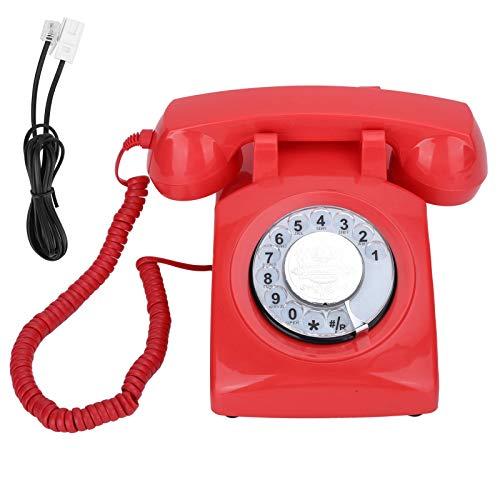 Teléfono Fijo Retro, teléfono Fijo de Escritorio con dial Giratorio, teléfono Antiguo con Cable, diseño de botón Grande, Adecuado para Sala de Estar, Dormitorio, Estudio, etc.(Rojo)