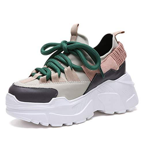 Mujeres Clunky Zapatillas Primavera Otoño Zapatos Atléticos Plataforma Al Aire Libre Casual Deportes Gimnasio Zapatos Cordones hasta Chunky Entrenadores Zapatos