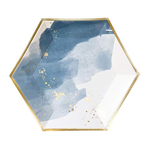 Harlow & Grey Malibu Blue Watercolor with Gold Large Paper Plates - Birthday, Wedding, Showers Disposable Party Plates - (8 Count)
